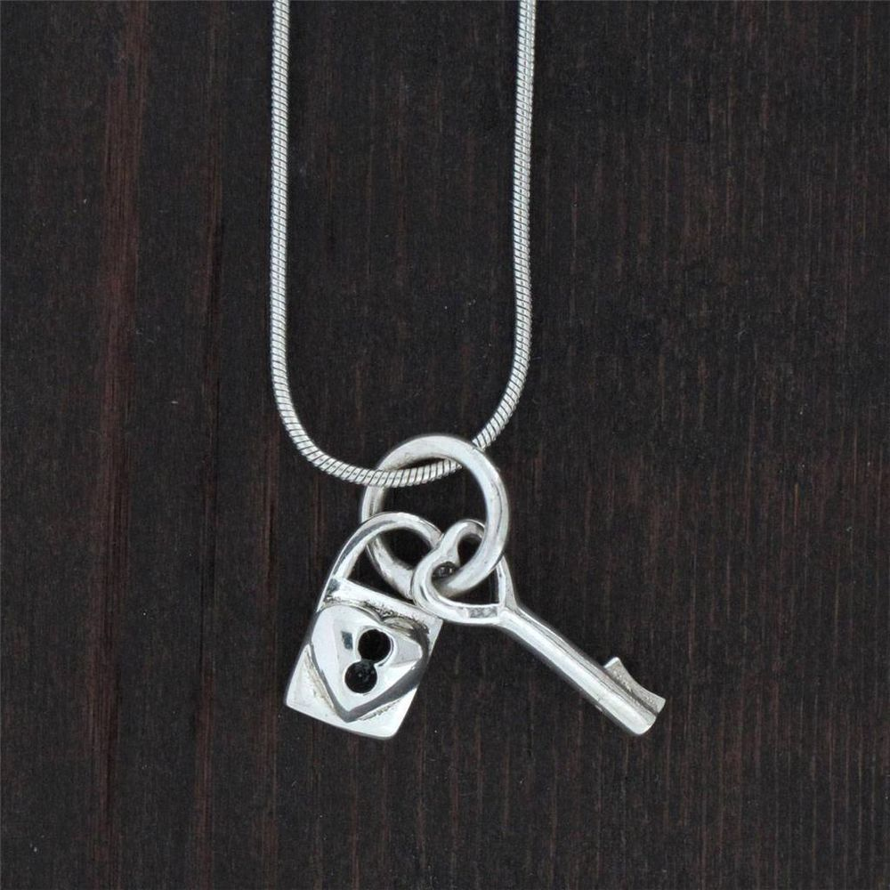 Lock and Key Pendant Sterling Silver  Charm Necklace Jewelry #YouniqueJewelry #Pendant