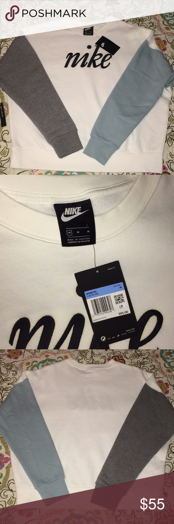 Nike Color Block Sweatshirt New With Tags Fast Shipping Nike Crewneck Pullover White Blue Grey Ribbing O Color Block Sweatshirt Nike Crewneck Sweatshirts [ 1740 x 580 Pixel ]