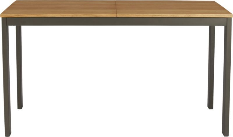 Dining Table Oak Poplar Iron Legs CB Great For NYC Bc - Cb2 expandable dining table