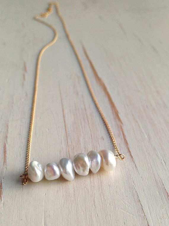 Pearl Necklace Delicate Pearl Bar Necklace June Birthstone