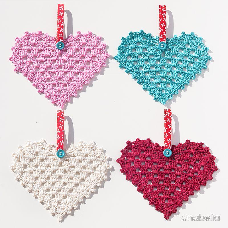 Crochet Granny Hearts, free pattern, Anabelia Craft Design | Hækle ...