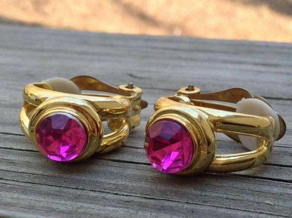 Vintage pink topaz earrings clip one by Treasuresforallcheap