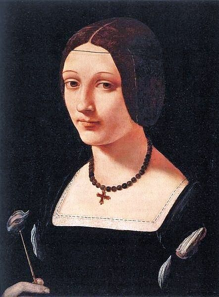 Black band holding veil on - 1500 Giovanni Antonio Boltraffio (1467-1516) Portrait of a Lady as St Lucy