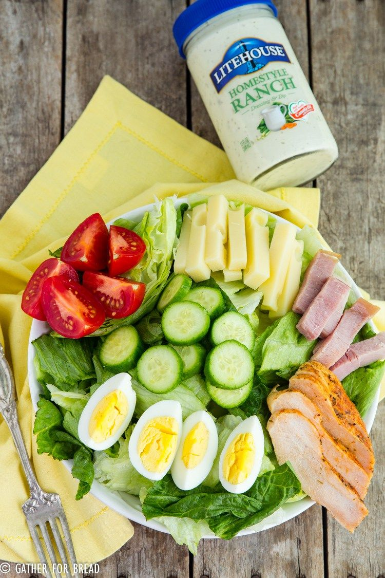 Chefs Salad Recipe - Make homemade chef salad with Romaine lettuce, ham, turkey and chopped vegetables. Delicious ingredients for an easy salad! | Client