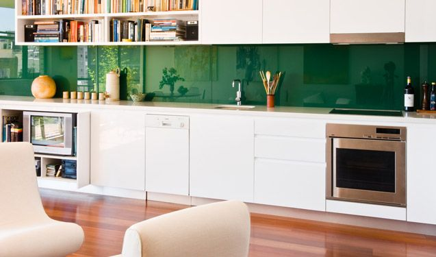 Great Straight Line Kitchen With Emerald Green Backsplash