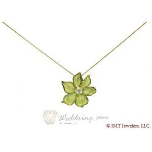Narcissus Flower Pendant 18K Yellow Gold/Platinum 0.10 ct. with Diamonds