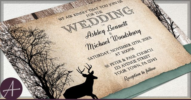Rustic Deer Wedding Invitations Woodsy With Faded Hunter Green