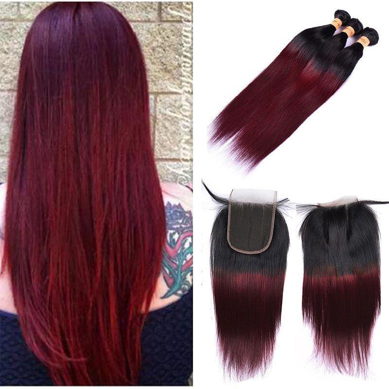 Straight 1b99j Burgundy Ombre Human Hair Weaves Colored Brazilian