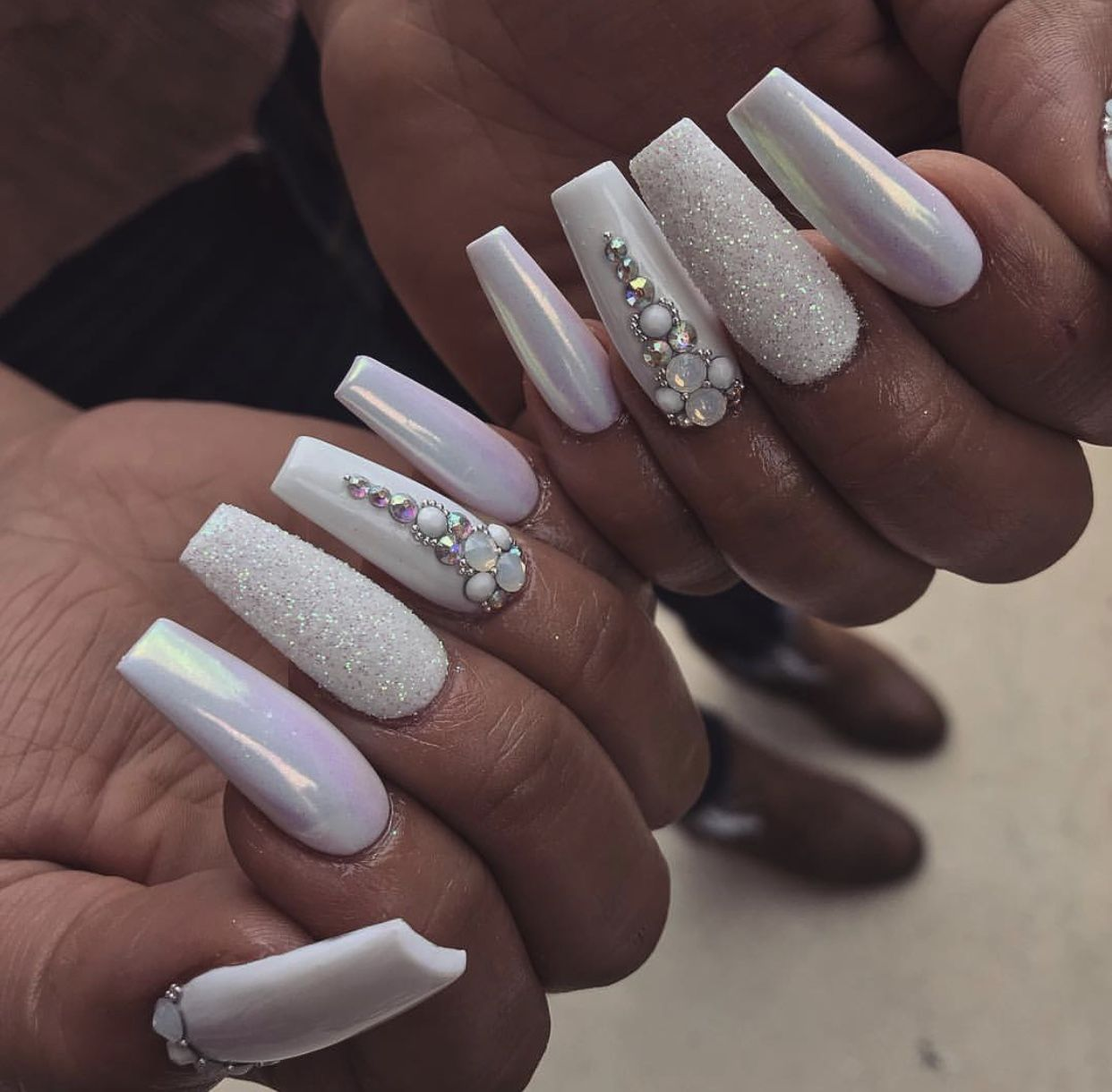 white with glitter and rhinestones coffin nails