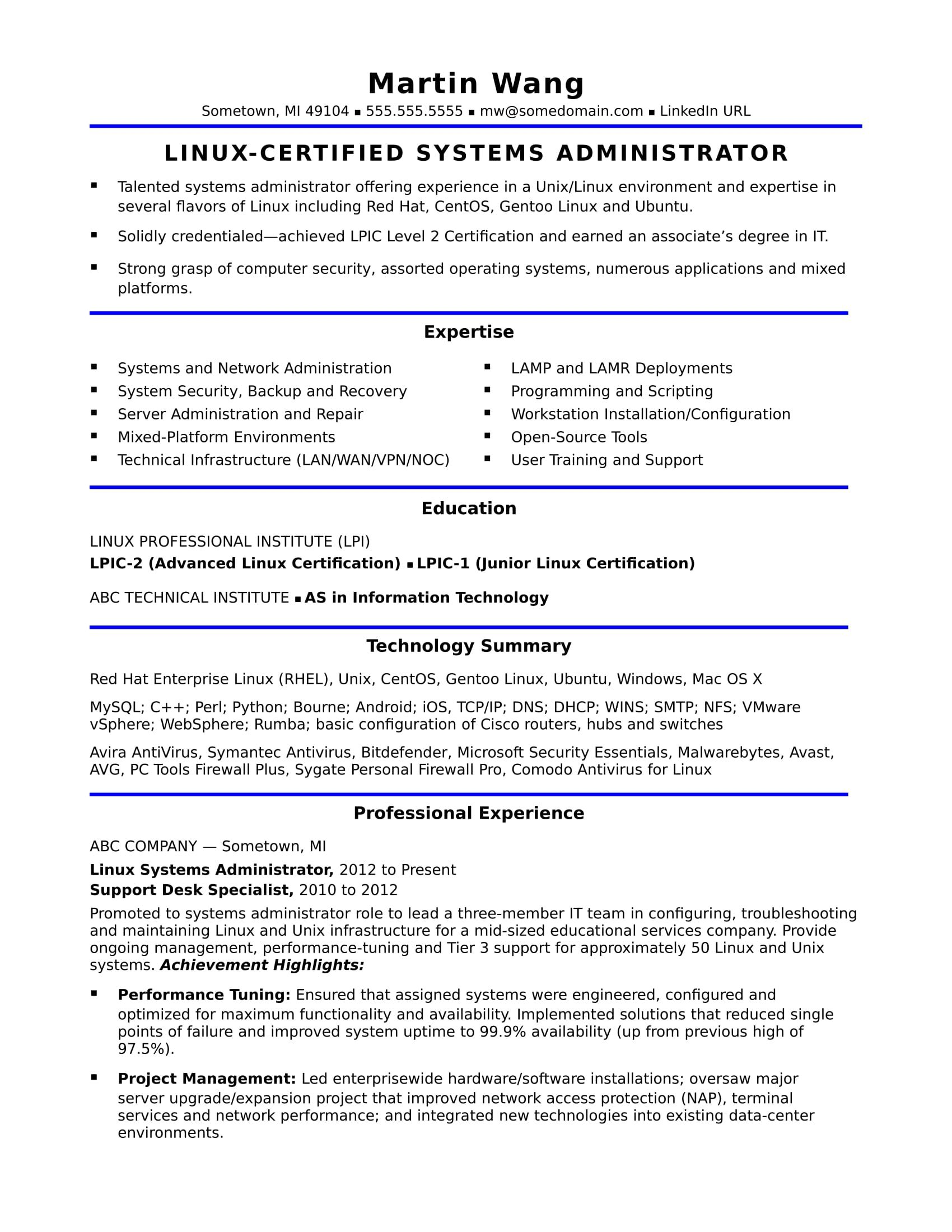 Network Administration Resume New See This Sample Resume For A Midlevel Systems Adminstrator For Help .