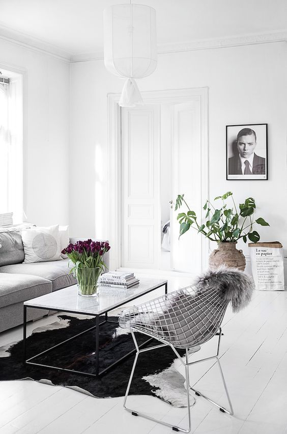 NATURAL RUGS   The Dreamy White Swedish Home Of Kristin Sundberg. KOBE  BLACK  WHITE