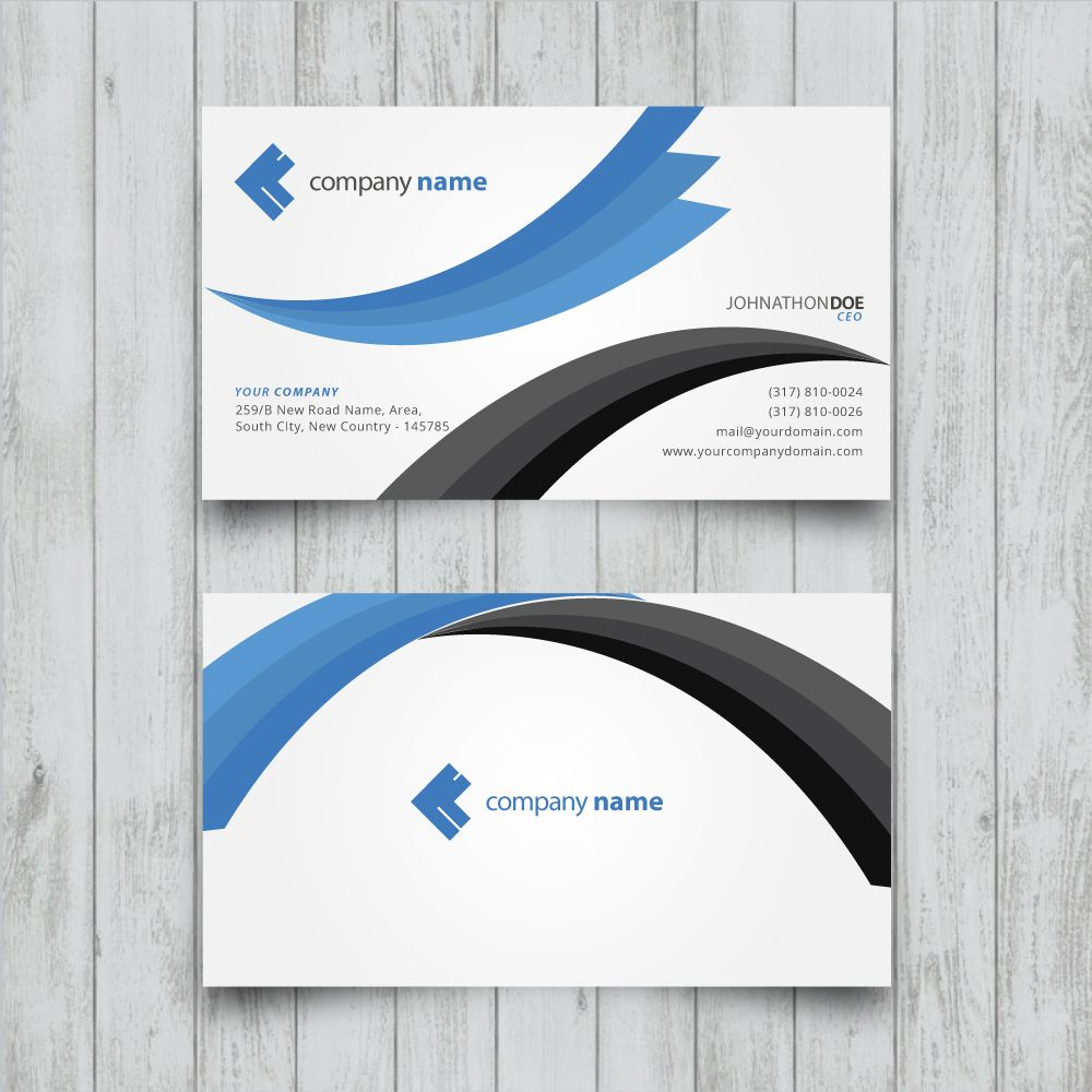 blue black wavy vector business card template   Business Card ...