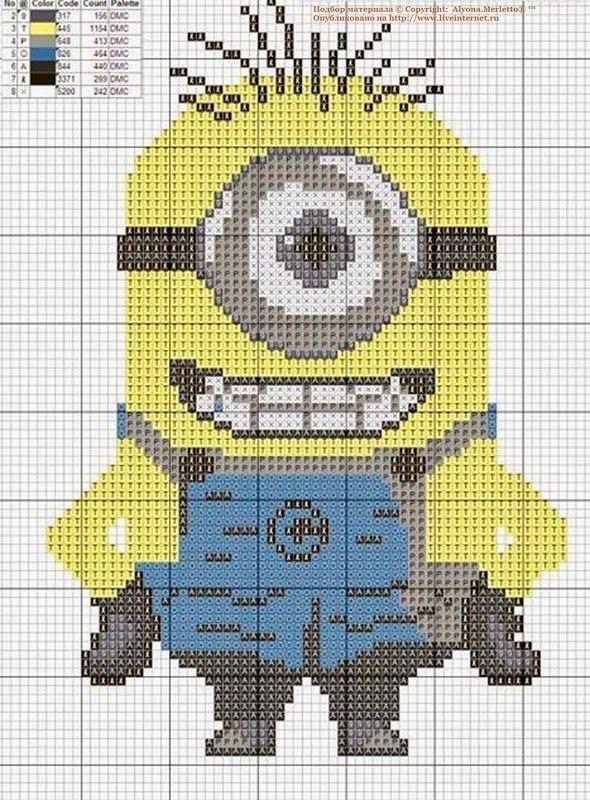 Muchos Minions en punto de cruz con gráficos | Solountip.com ...