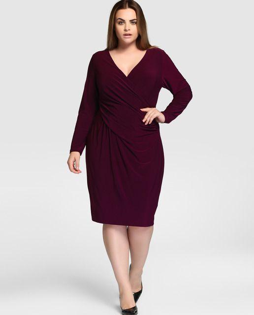 baratas último diseño ahorros fantásticos Vestido de mujer talla grande Lauren Woman con drapeado en ...