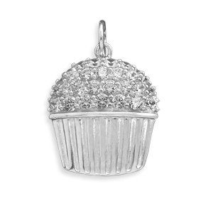 SALE! TAKE 15% OFF REG.PRICE!-  Rhodium Plated CZ Cupcake 925 Sterling Silver by ForsgateJewelry, $64.98