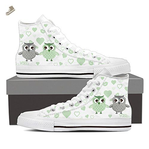 Cute OWL - Womens High Top Sneakers in White/Turquoise Cute OWL - High Top Sneakers in White/Green / US6 EU36 - Vaisb sneakers for women (*Amazon Partner-Link)