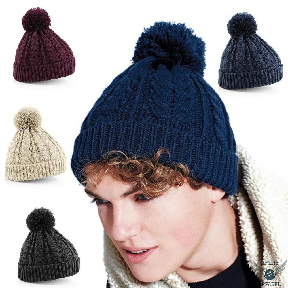 b1fed5f7a55 Cable Knit  Beanie Chunky  Winter Warm Woolly Bobble Ski  Hat Mens Womens  Ladies  afili8pparel
