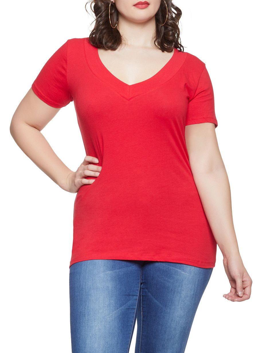 459f936535 Plus Size Solid Short Neck V Neck Tee - Red - Size 1X in 2019 ...