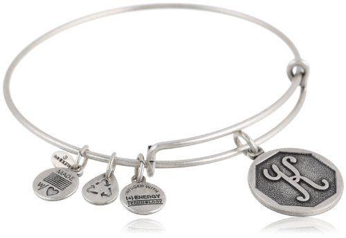 Alex and Ani Rafaelian Silver-Tone Initial K Expandable Wire Bangle Bracelet 2.5
