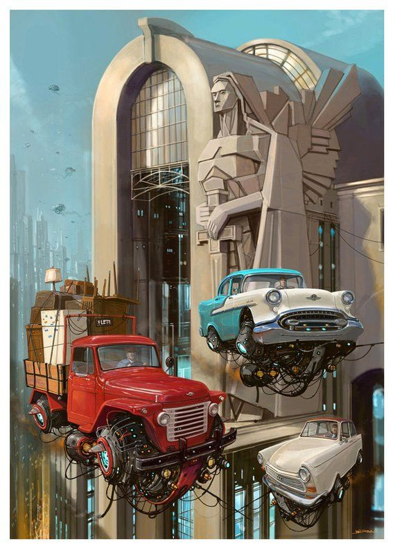 "Estación Salamone from artist Alejandro ""Burda"" Burdisio – Print Poster Wall Decor – Classic Car Posters – Concept Art"