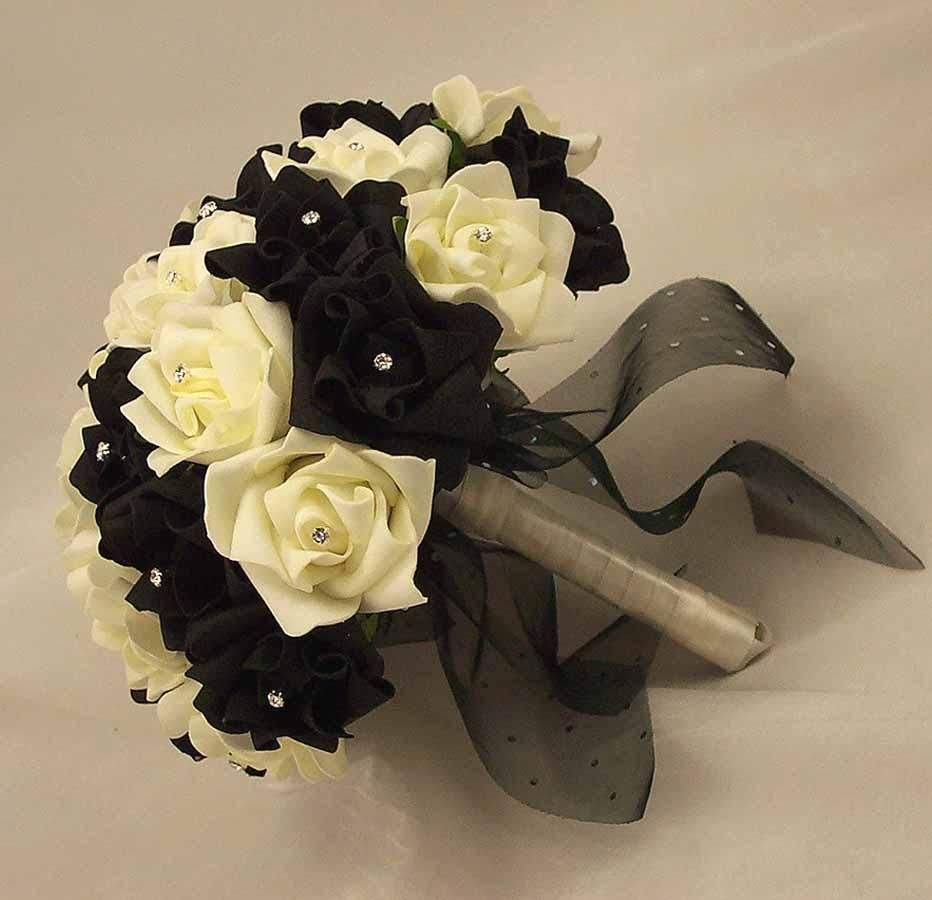 Black Rose Bridal Bouquet White Diamante