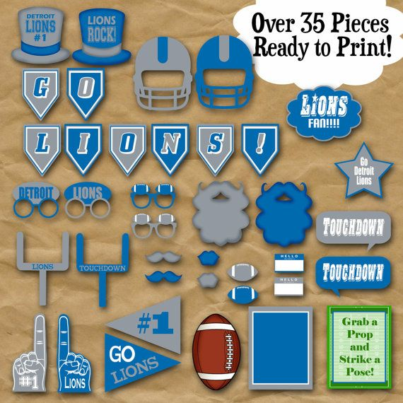 Printable Birthday Party Invitation Card Detroit Lions: Lions Football Photo Booth Props And Party Decorations