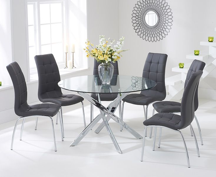 Denver 120cm Glass Dining Table With Calgary Chairs Brown Dining