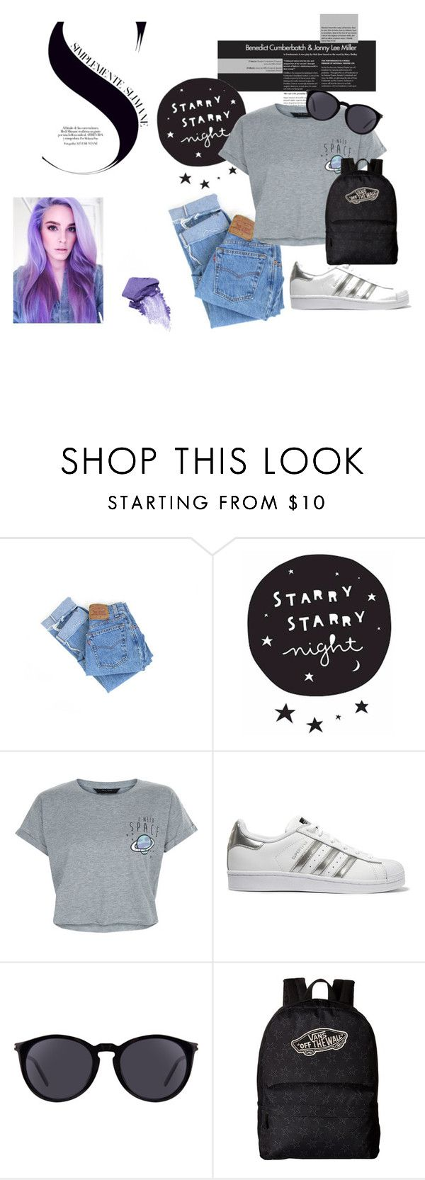 """""""Street Fashion"""" by yixingunicorn ❤ liked on Polyvore featuring Levi's, New Look, adidas Originals, Yves Saint Laurent, Vans and NARS Cosmetics"""