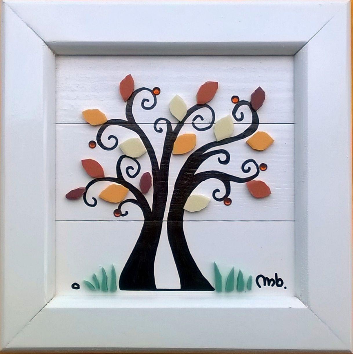 """Arbre Bois Blanc Decoration automne"""" exclusivité chez """"mb mosaic"""" : cadre en bois laqué"""