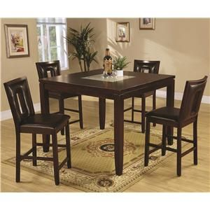 Ervin Contemporary 5 Piece Table Set With Smooth Cracked Glass Top