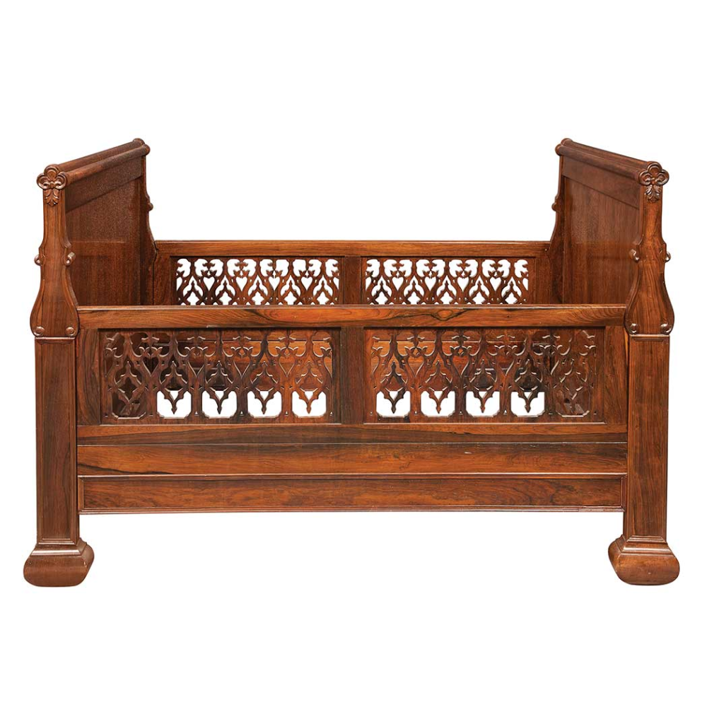 American Gothic Revival Carved Rosewood Childs Bed for