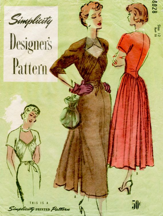 1950s 50s dress vintage sewing pattern Evening Frock Cocktail Dress ...