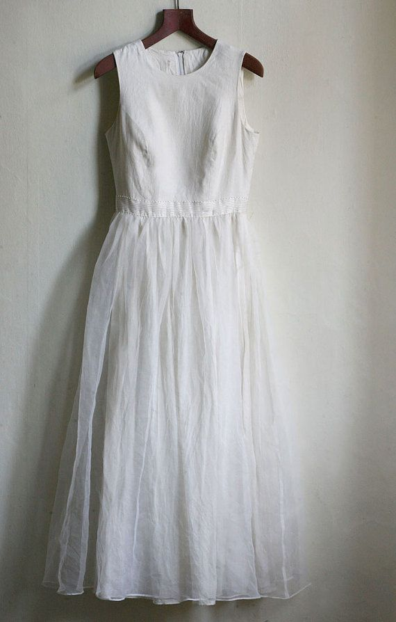 Linen and Chiffon Wedding Dress - size S Ivory Boho wedding or prom ...