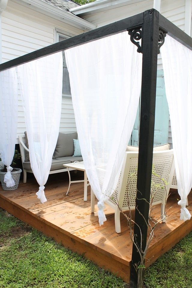 Captivating DIY Outdoor Cabana With Curtains