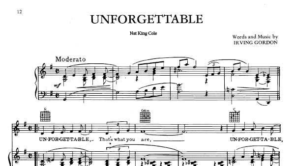 Download Unforgettable Sheet Music Nat King Cole - FREE SHEET MUSIC PDF   Sheet music, Sheet ...