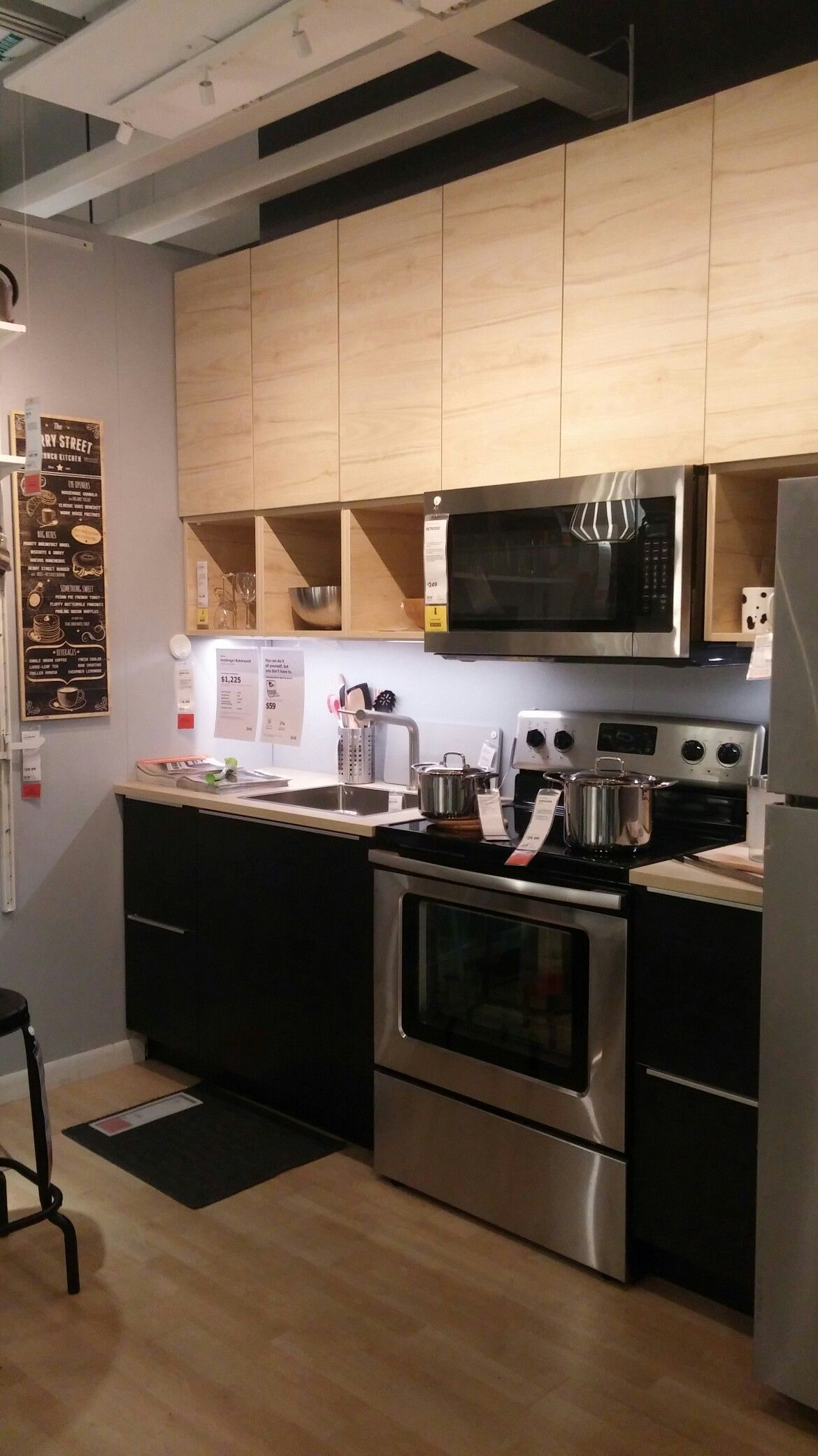 Ikea Askersund top, Tingsyrd bottom with Ash countertop | kitchen ...