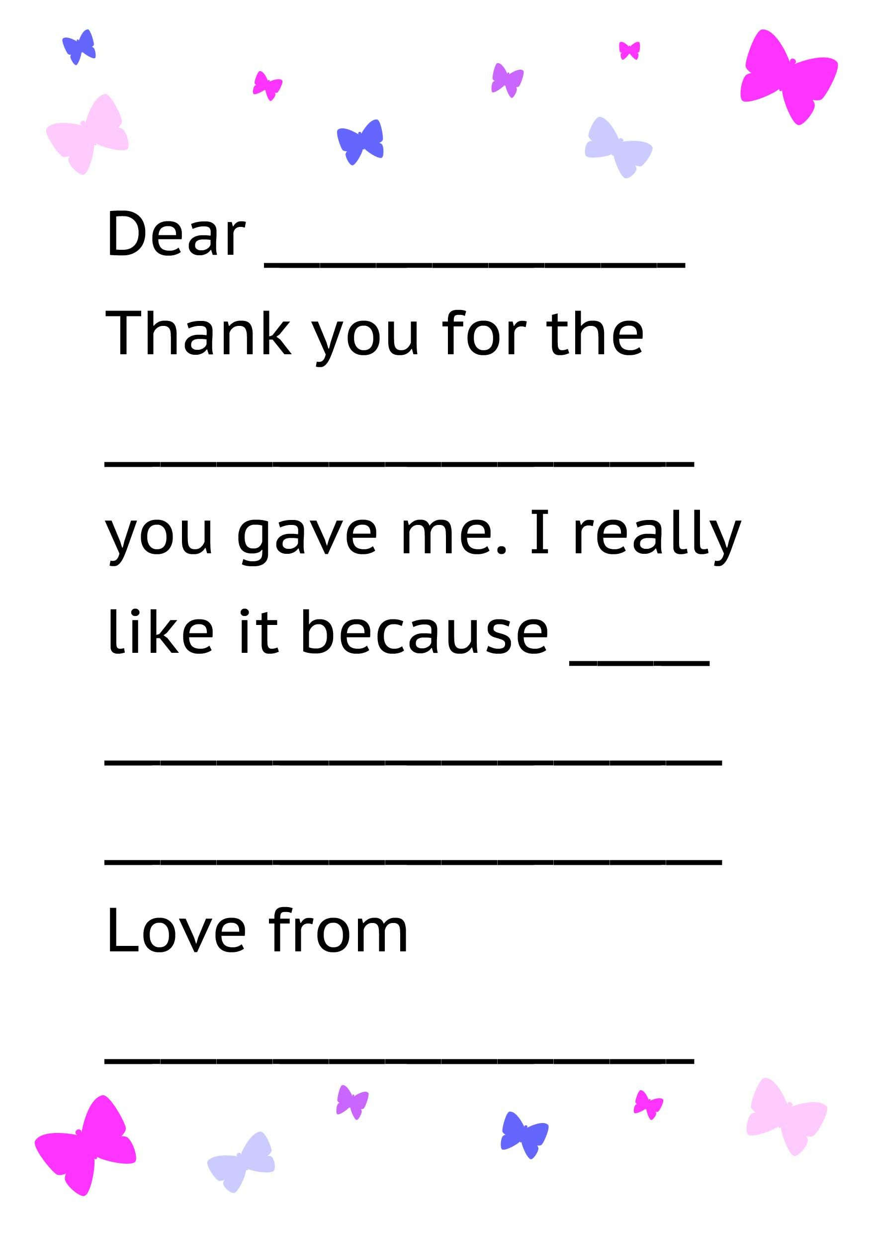 Formal Letter Sample Thank You Note For Kids Free