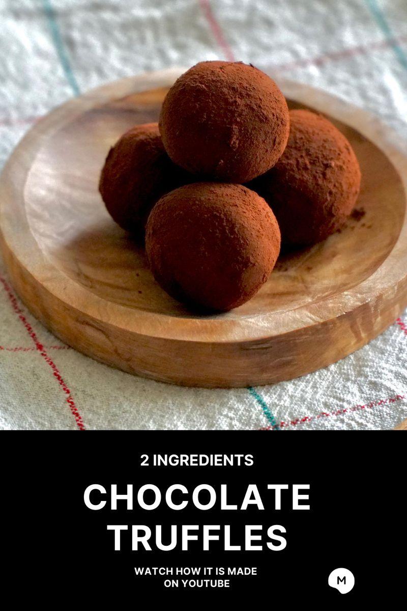 How To Make 2 Ingredients Condensed Milk Chocolate Truffles In 2020 Ingredients Recipes 2 Ingredient Recipes Truffle Recipe Chocolate