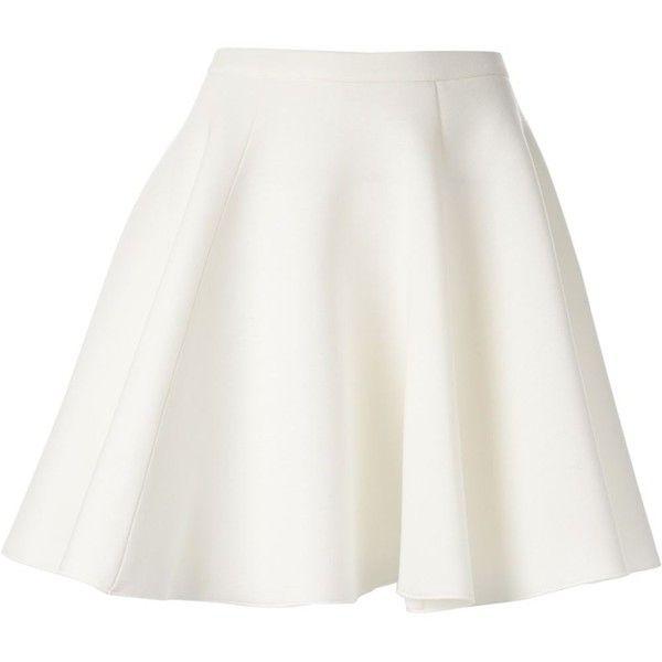 MSGM a-line skirt (385 AUD) ❤ liked on Polyvore featuring skirts, bottoms, saias, faldas, flounce skirt, white knee length skirt, high waisted knee length skirt, high-waist skirt and white skirt