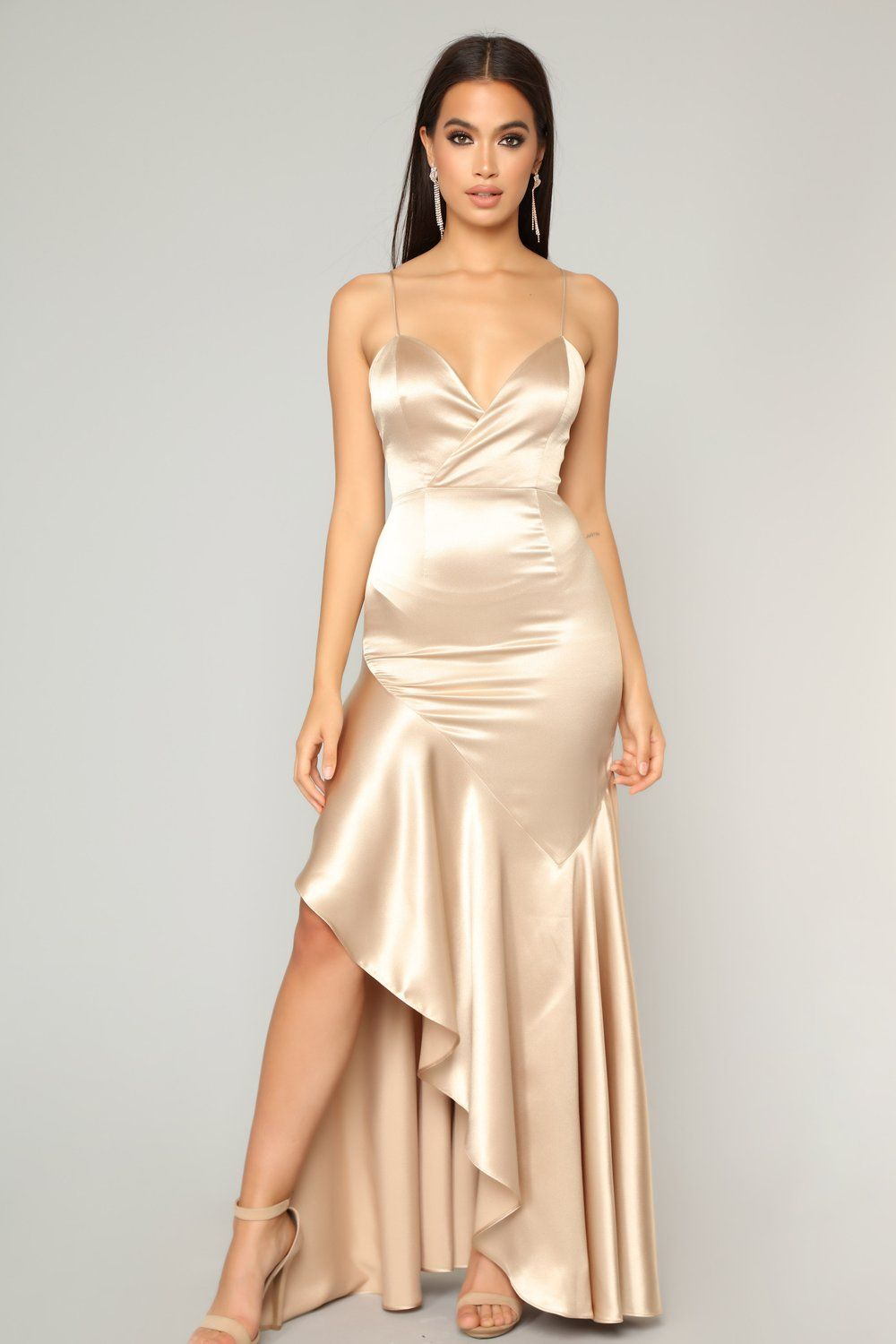 Vanessa S Favorite Maxi Dress Gold In 2019 Satin Dresses Gold