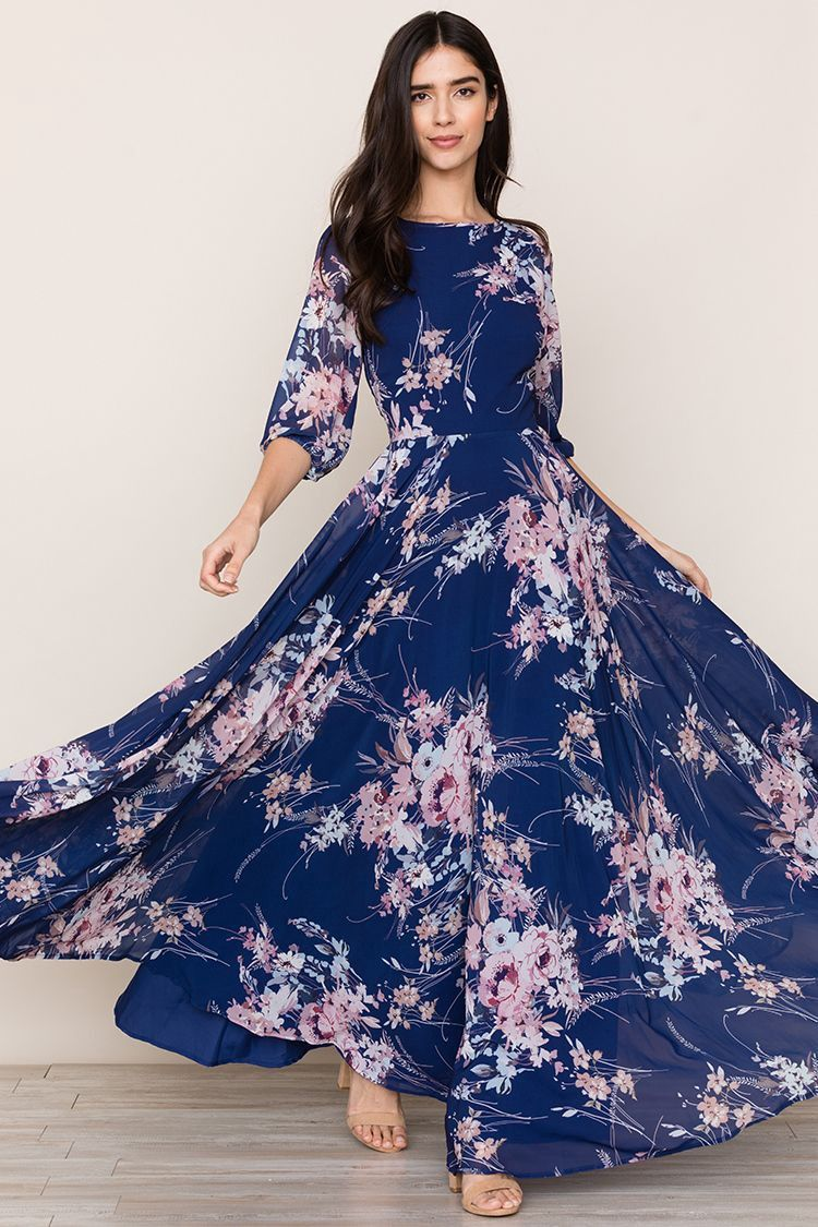Navy blue dress for spring wedding  Yumi Kim Woodstock Maxi  Botanical Garden Navy XXS  Products