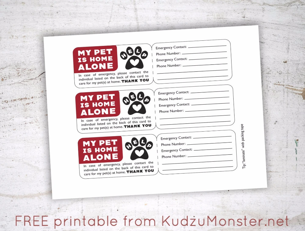 Free Printable Pet Emergency Contact Card Pet Emergency Pet Emergency Card Contact Card