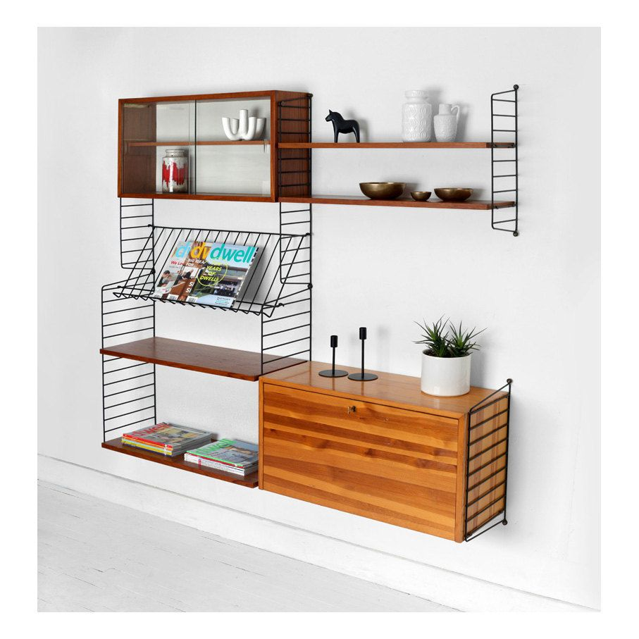 Vintage String Shelving Unit Wall Mid Century Modern