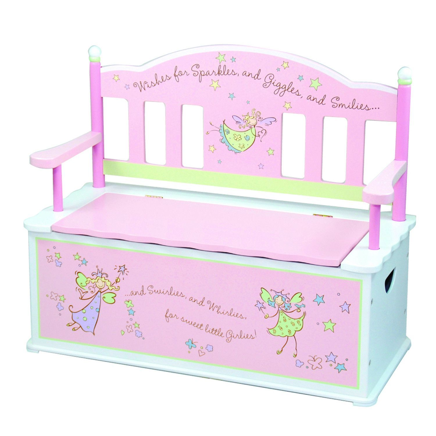 Pink Fairy Wishes Bench Seat With Storage Toy Box Seating: Levels Of Discovery Fairy Wishes Bench Seat W/ Storage