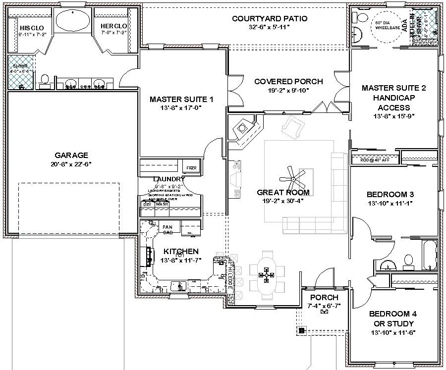 House Plans With Three Master Suites Details About Complete 2306 Sq Ft 2 Masters Ada Bath