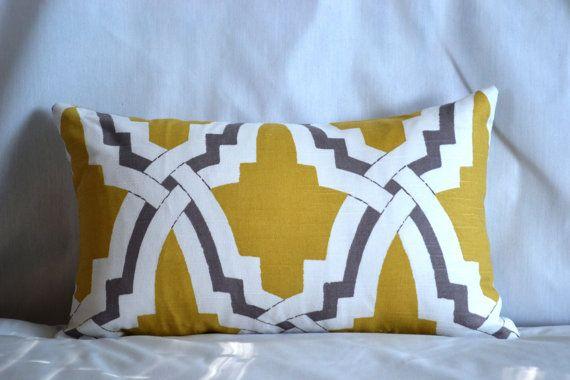 Duralee Bokara yellow and grey pillow, Etsy
