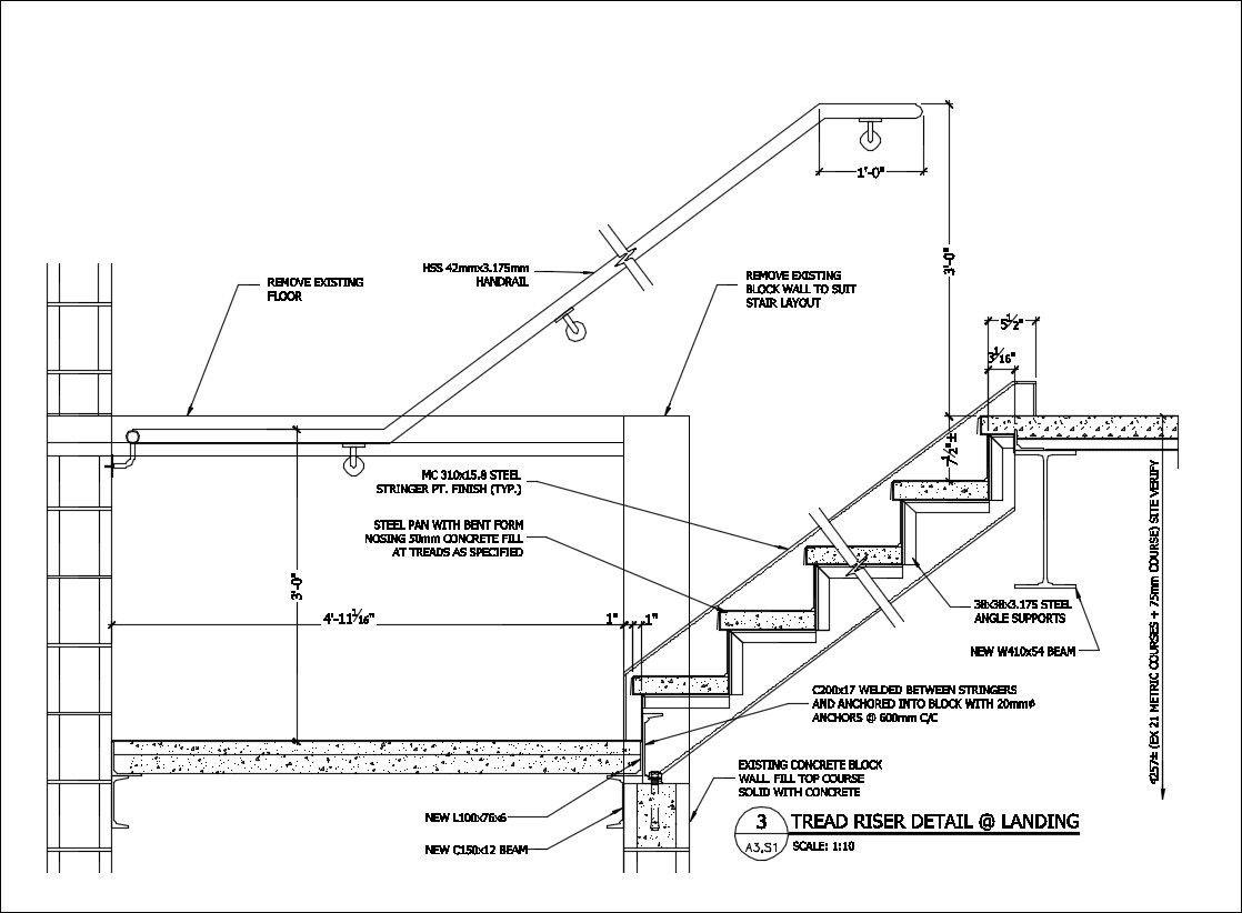 Préférence Free CAD Details-Stair @ Landing Detail – CAD Design | Free CAD  WC92