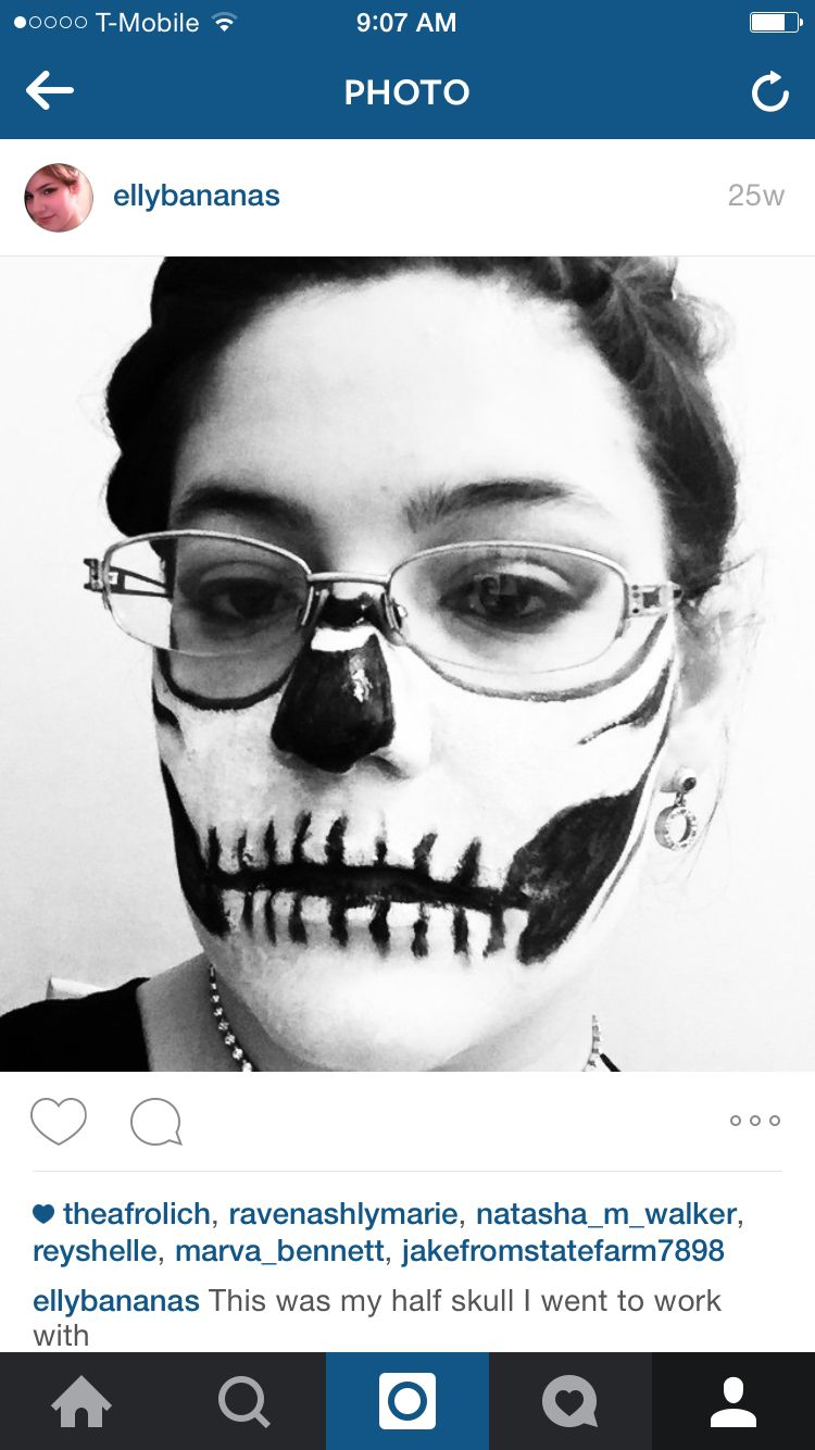 Half skull face for girls who love Halloween and hate makeup on glasses