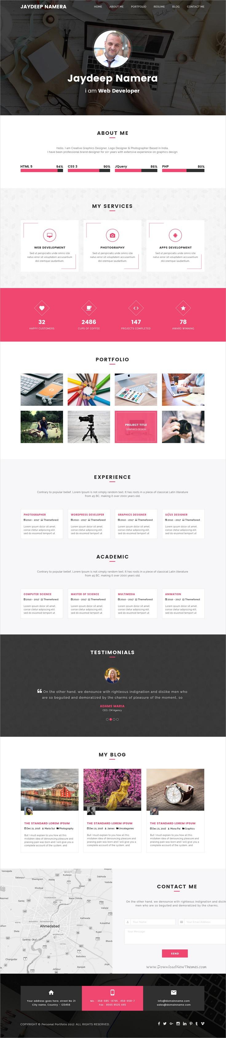 Folder freelancer one page portfolio resume psd