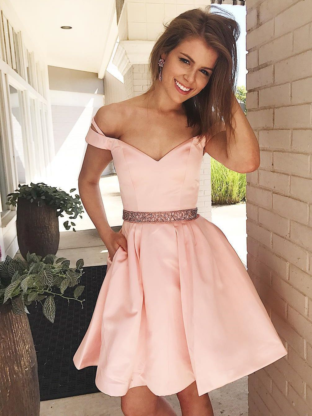 Off shoulder short pink prom dress homecoming dress with pockets in